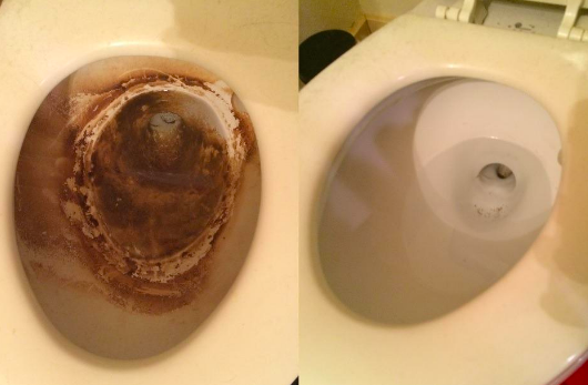 A customer review before and after photo of their stained toilet and then a clean toilet after use
