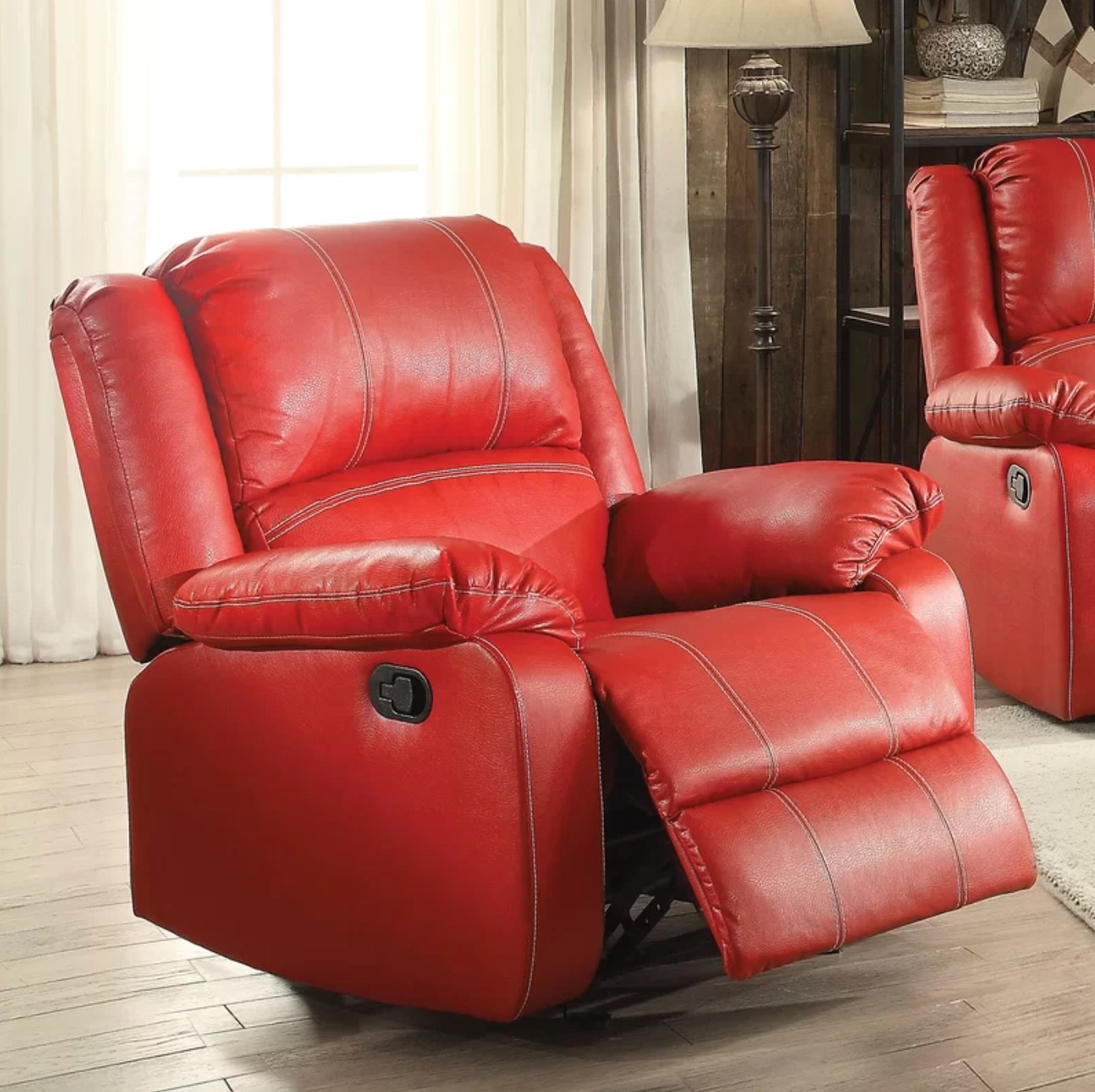 The leather recliner in red