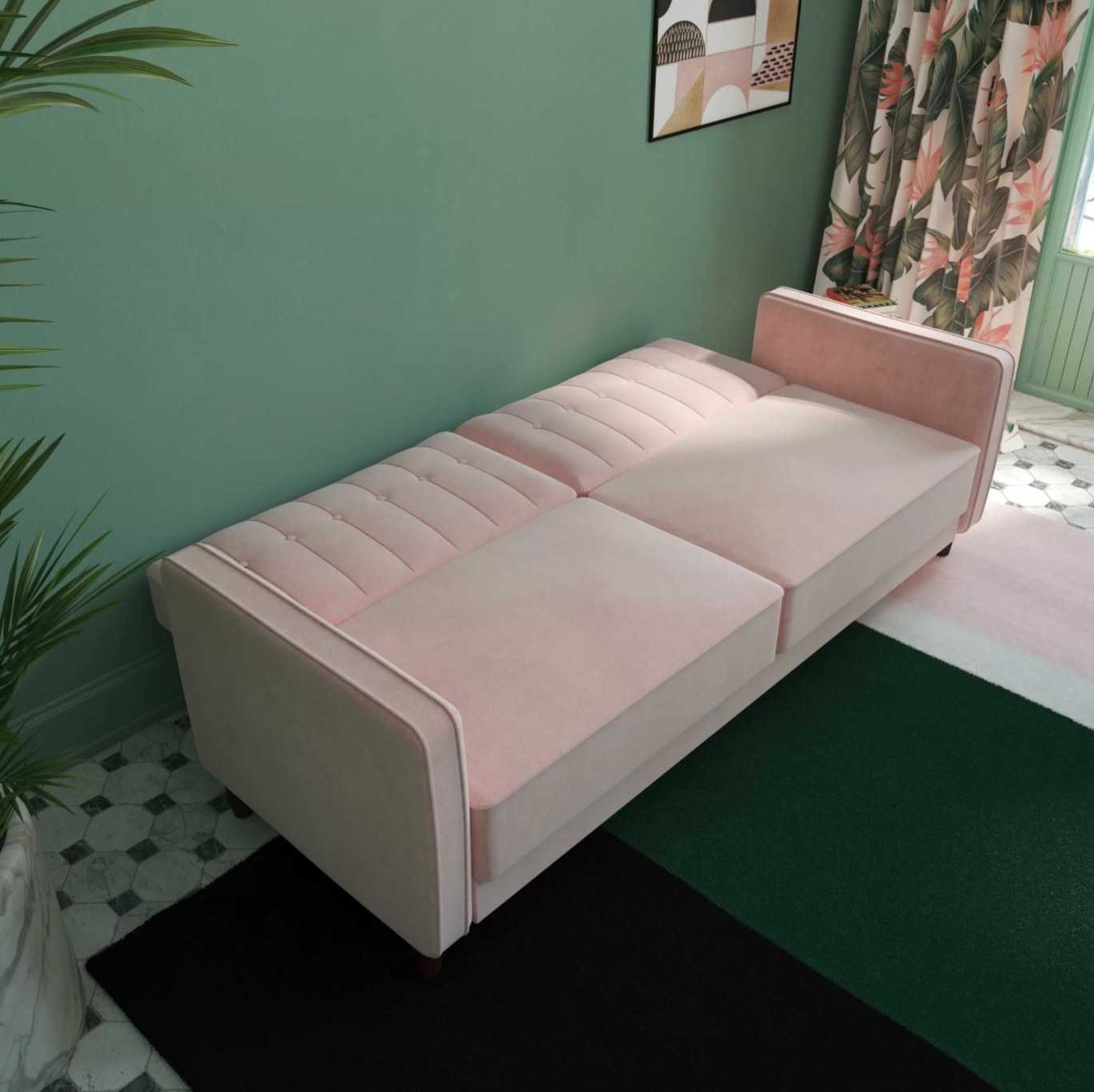 The square armed velvet couch in pink