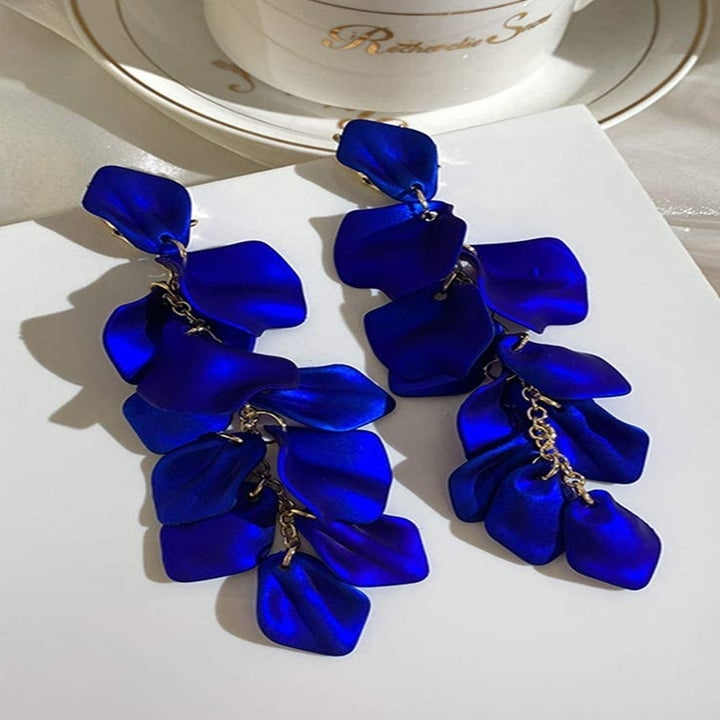 The earrings in blue