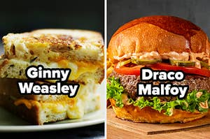 "Grilled cheese with words ""Ginny Weasley"" and burger with words ""Draco Malfoy"""