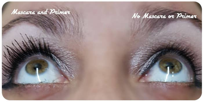 reviewer image of lashes without primer and with the primer that look noticeably longer
