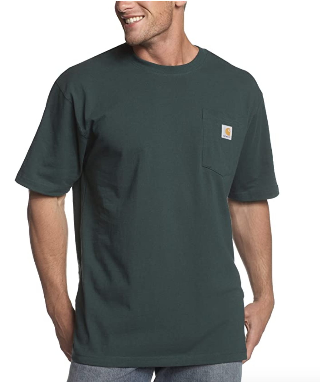 Model in a green t-shirt with a front left pocket