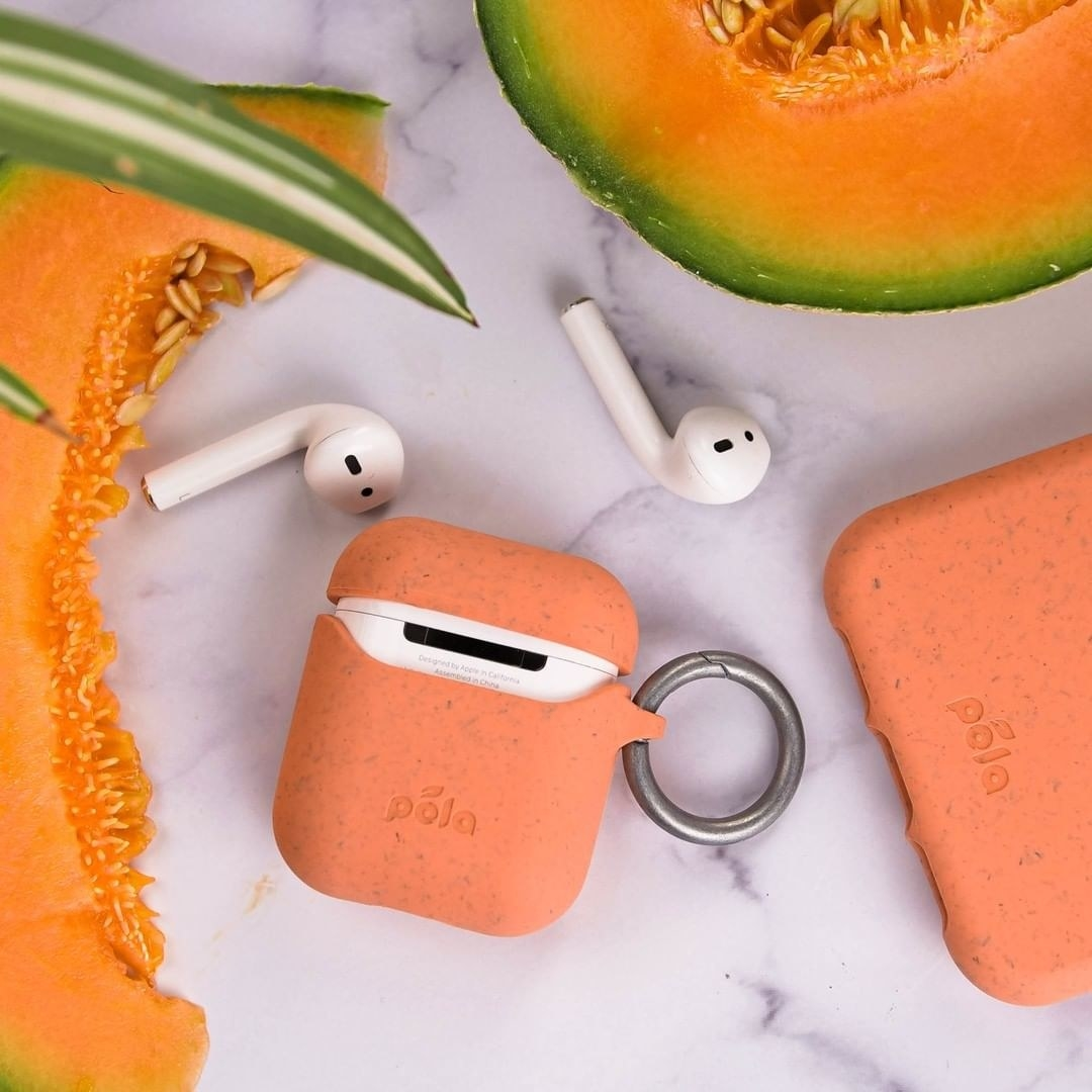 The Airpod case surrounded by slices of cantaloupe
