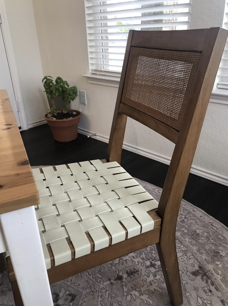 Vegan leather woven dining chair