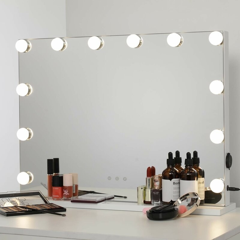 Frameless vanity lighted mirror