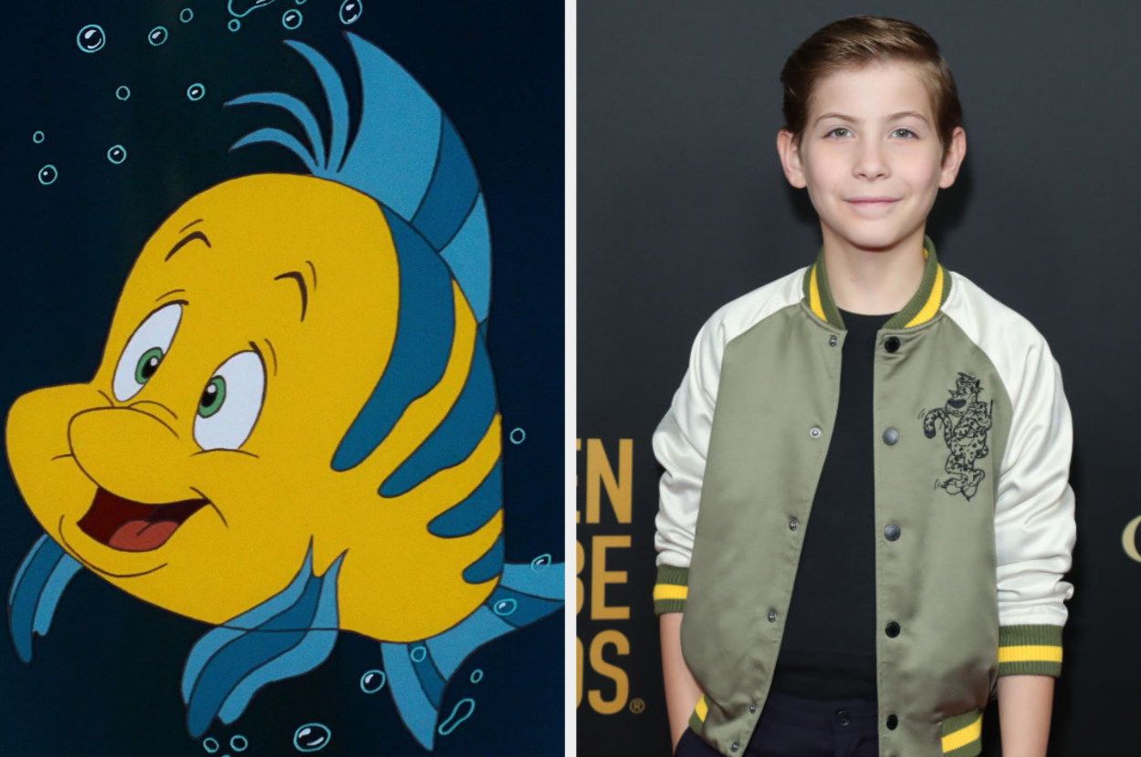 """A still of Flounder from """"The Little Mermaid"""" and a photo of Jacob Tremblay"""