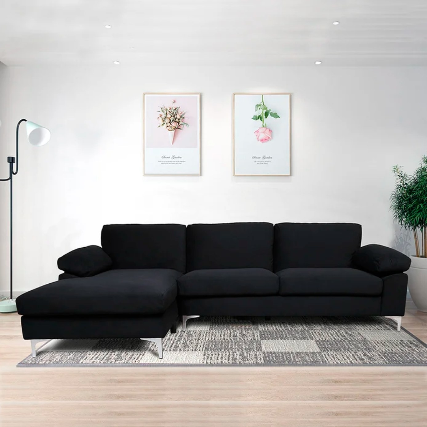 The velvet sectional left facing couch in black