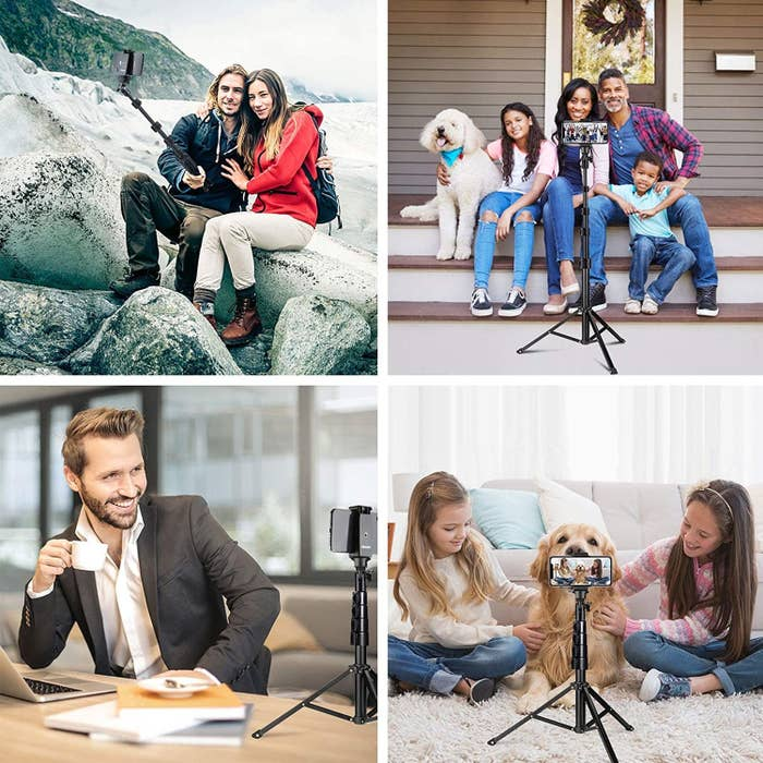 Models using the tripod as a selfie stick, as a tripod to take a family picture, as a small stand for a FaceTime call, and on the floor to film a dog