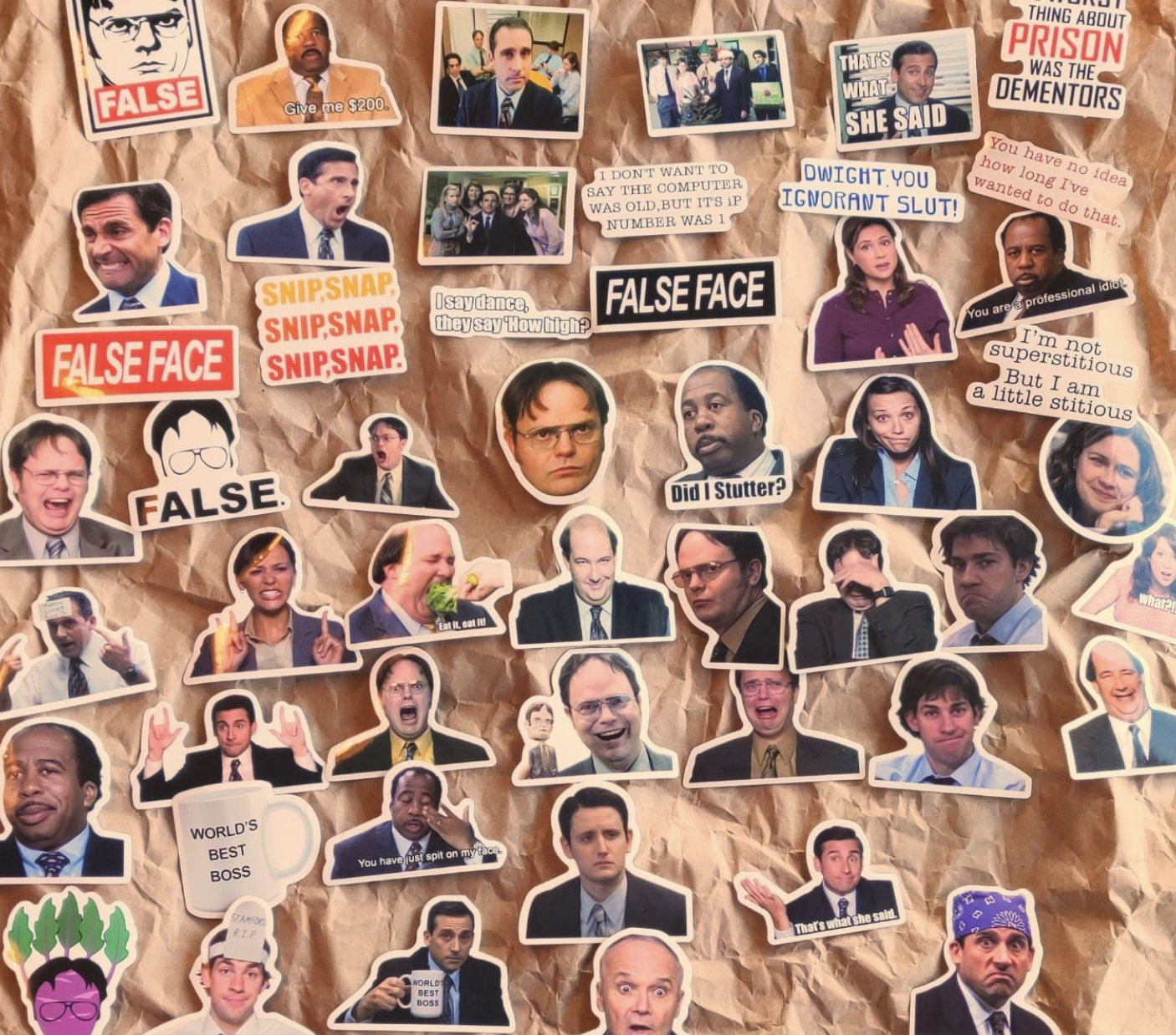 assorted stickers of characters and references from the us version of the office