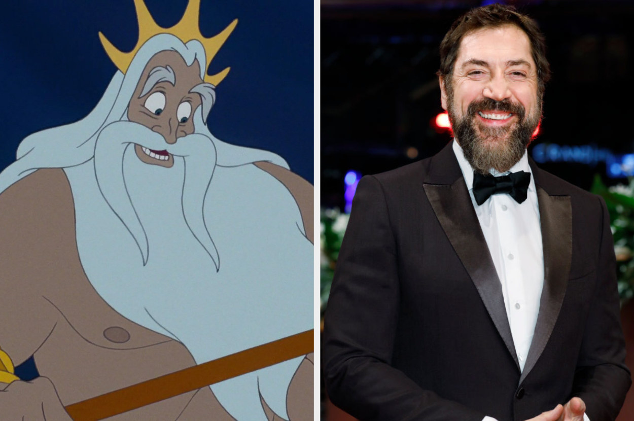 """A still of King Triton from """"The Little Mermaid"""" and a photo of Javier Bardem"""