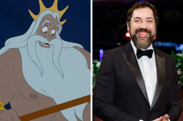 "A still of King Triton from ""The Little Mermaid"" and a photo of Javier Bardem"