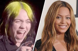 Side by side photos of Billie Eilish and Beyoncé