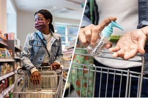 Woman shopping with mask and using hand sanitizer.