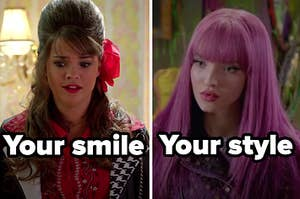 """Mack from """"Teen beach movie"""" with the words """"your smile"""" and Mal from """"Descendants 2"""" with the words """"your style"""""""