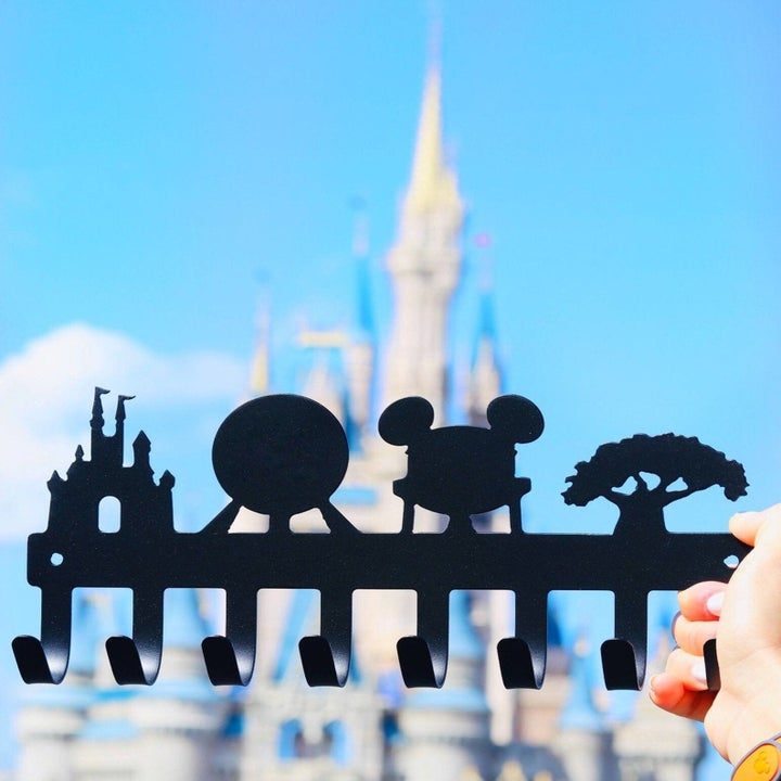 a black strip showing the various disney parks and an array of hooks