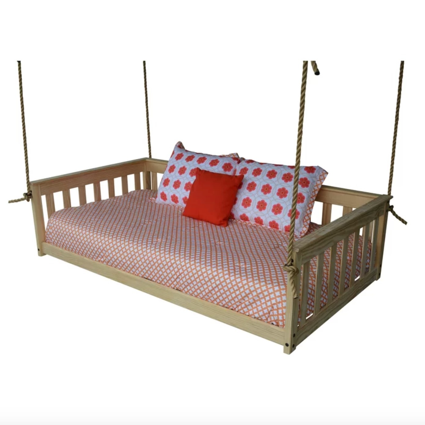 The hanging daybed in unfinished wood