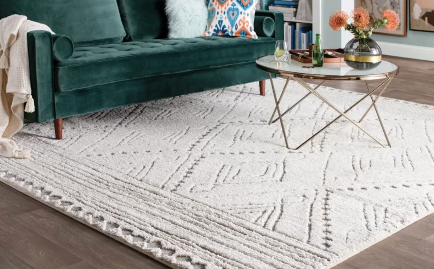 the rug in beige/light gray shown in a living room setting