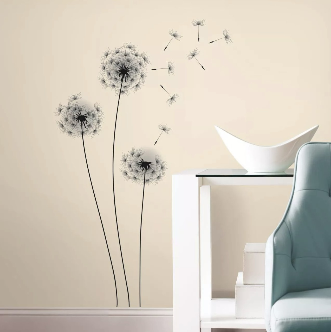 The dandelion decal on a wall