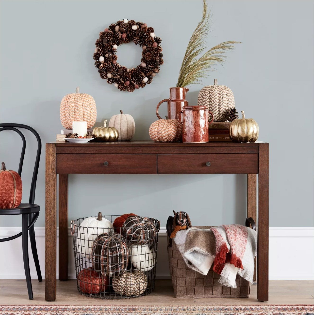 The basket under a console table