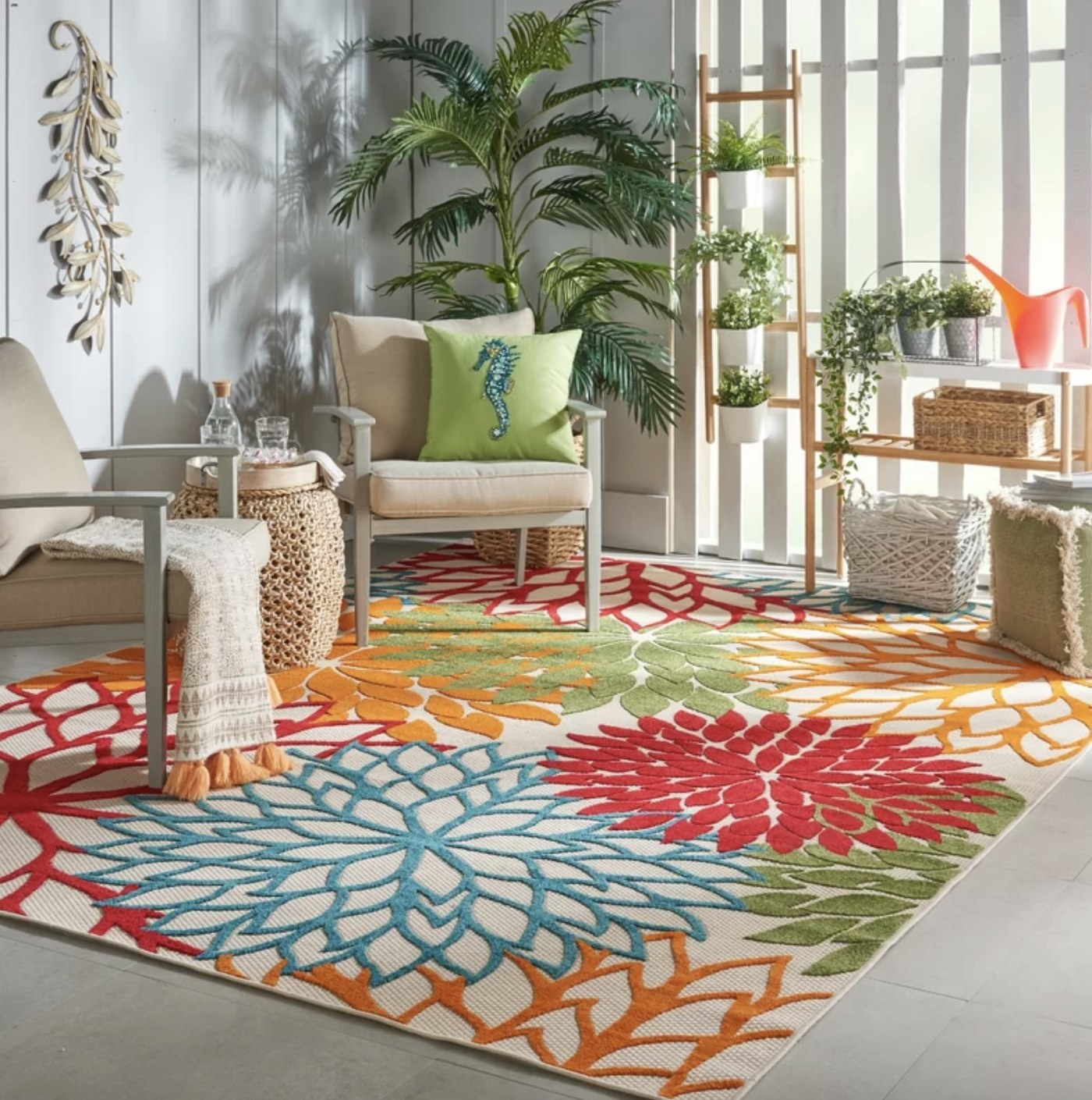 the rug in the color multi in a living room