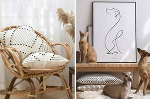 left image: bohemian throw pillow cases, right image: animalist framed print