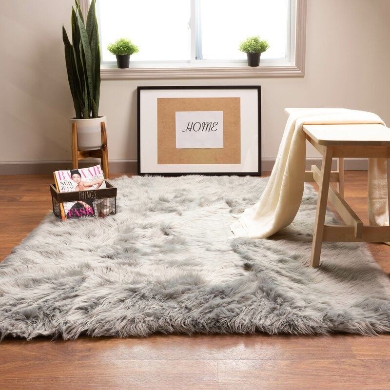 the gray house of hampton shag rug in a minimalist room