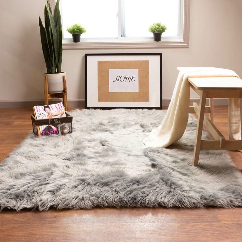 the gray house of hampton shag rug in a minimalist room