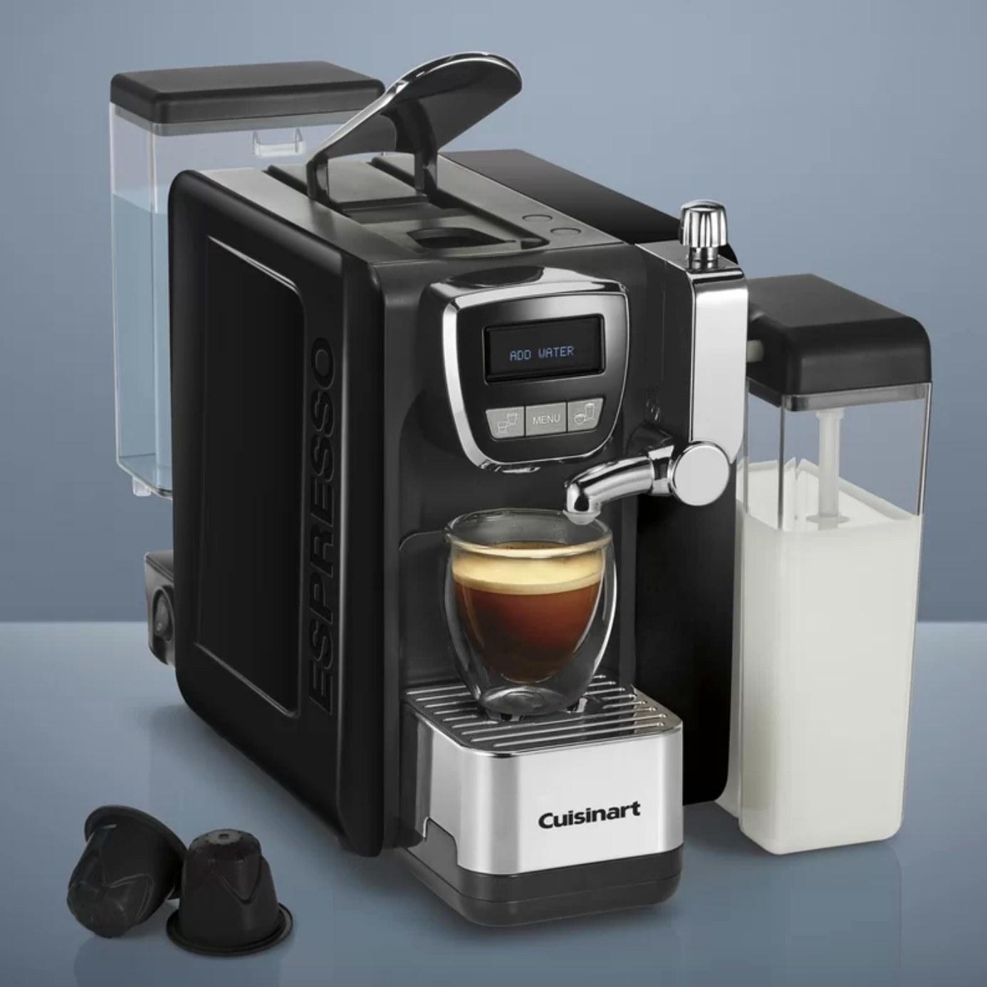 The Cuisinart espresso machine making coffee
