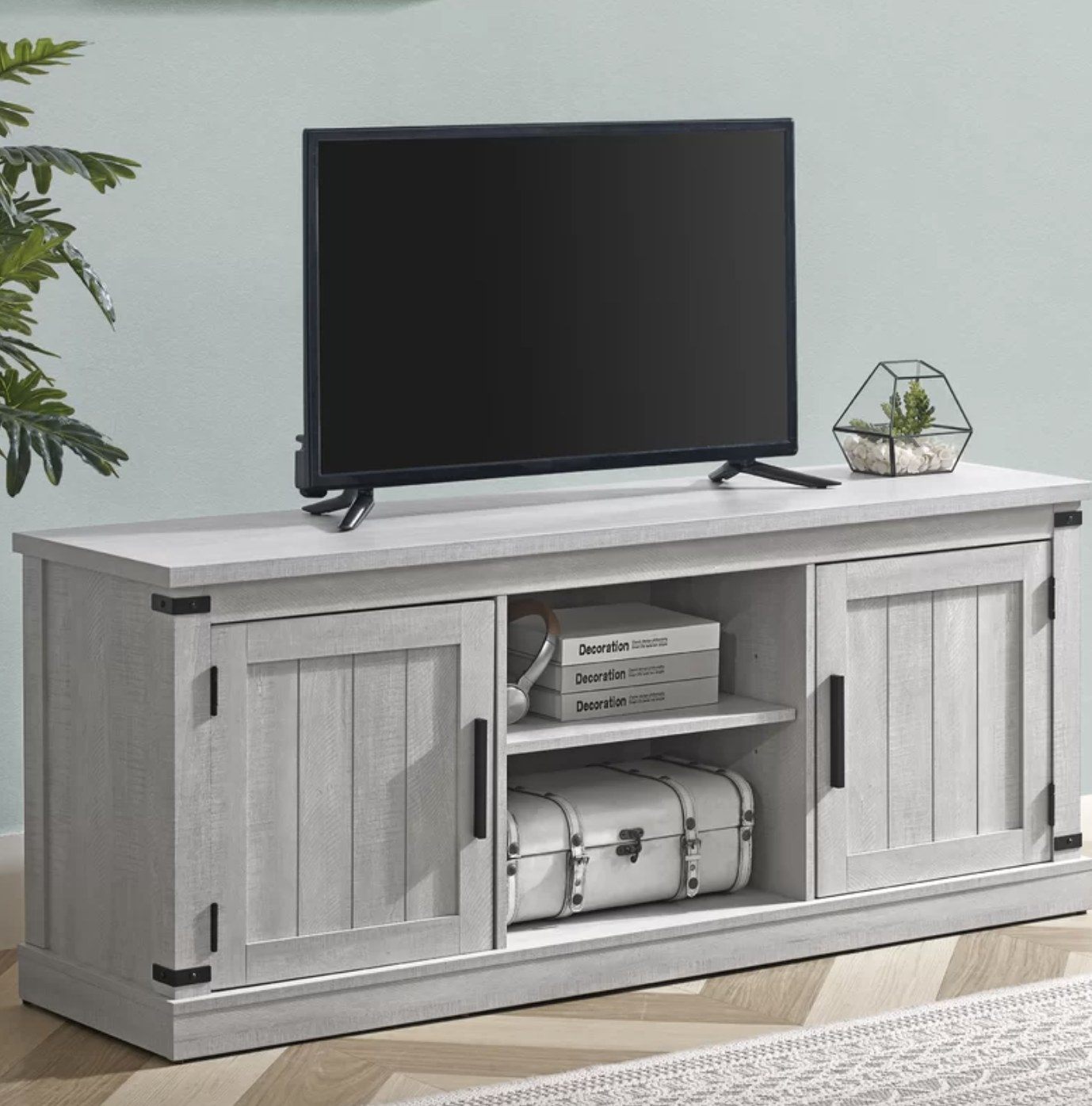 the tv stand in gray