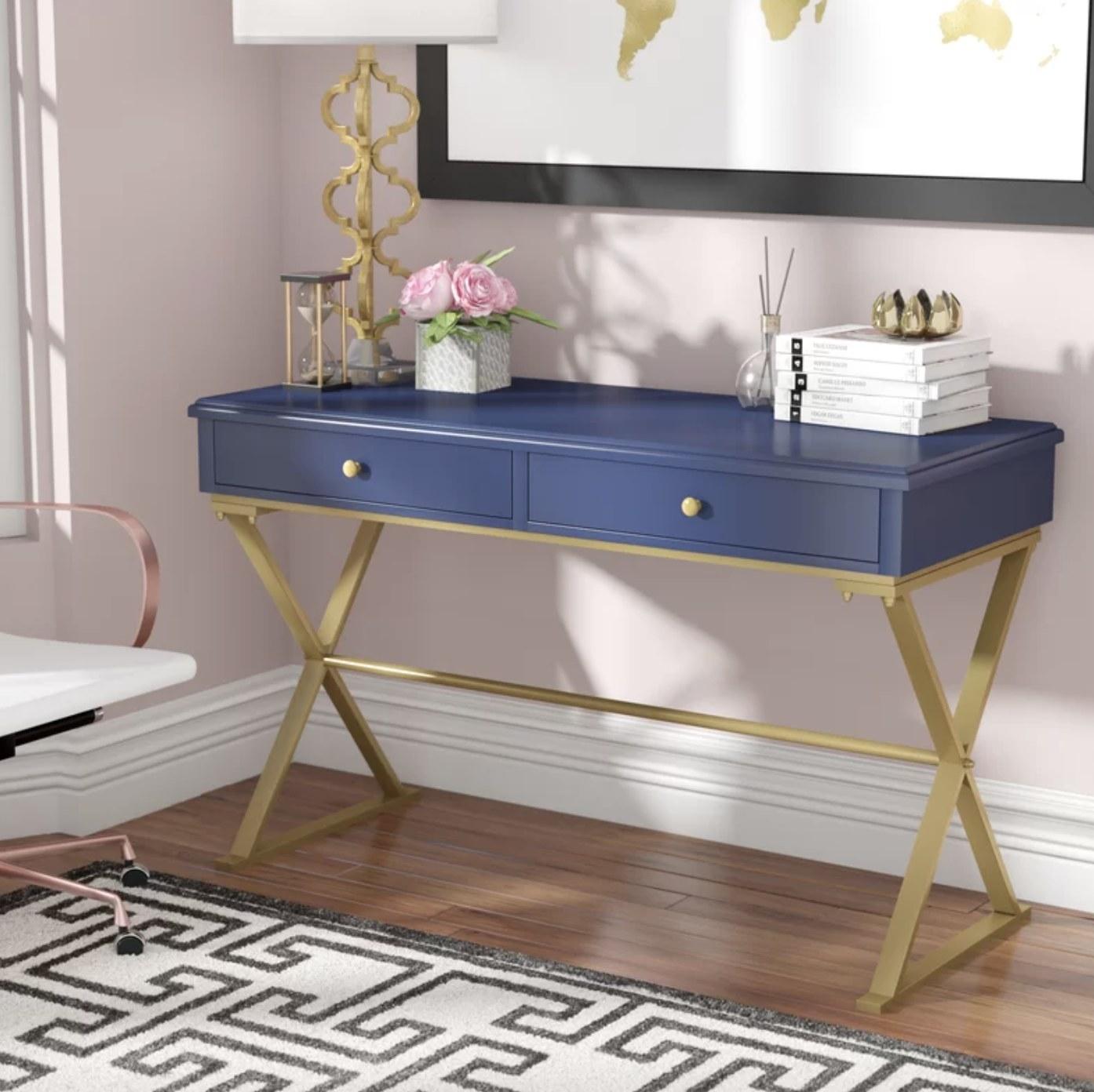 the desk in navy blue