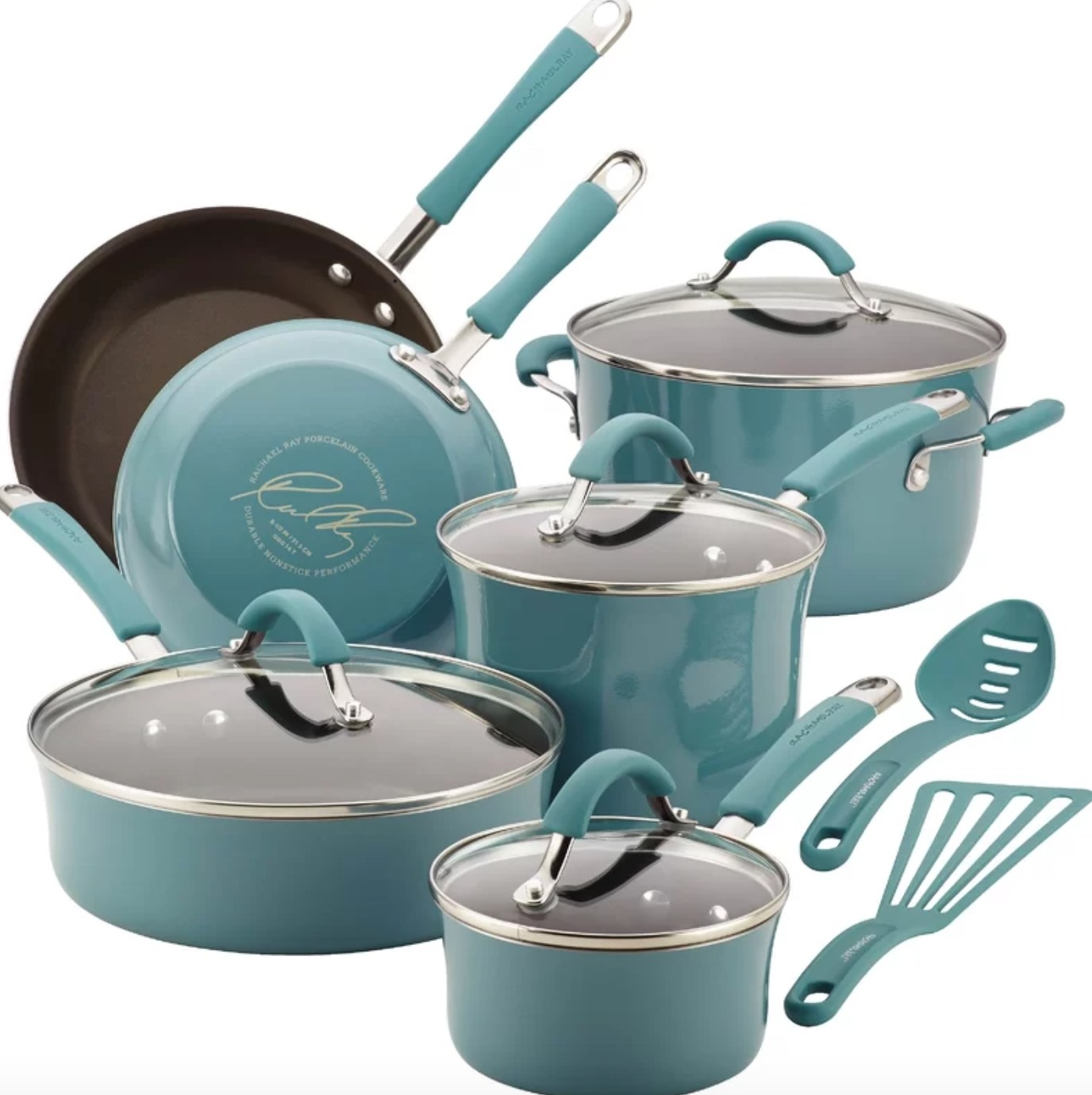 The 12 piece Rachael Ray cookware set in agave blue