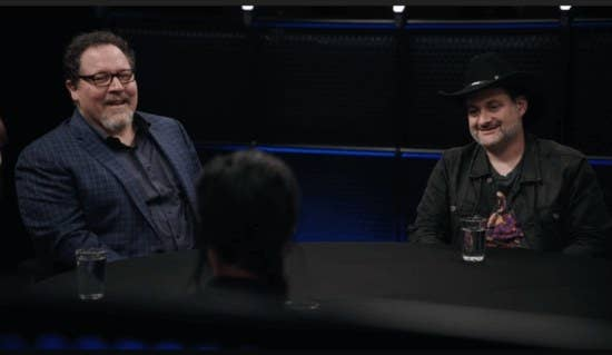 Jon Favreau and Dave Filoni in a roundtable discussion.
