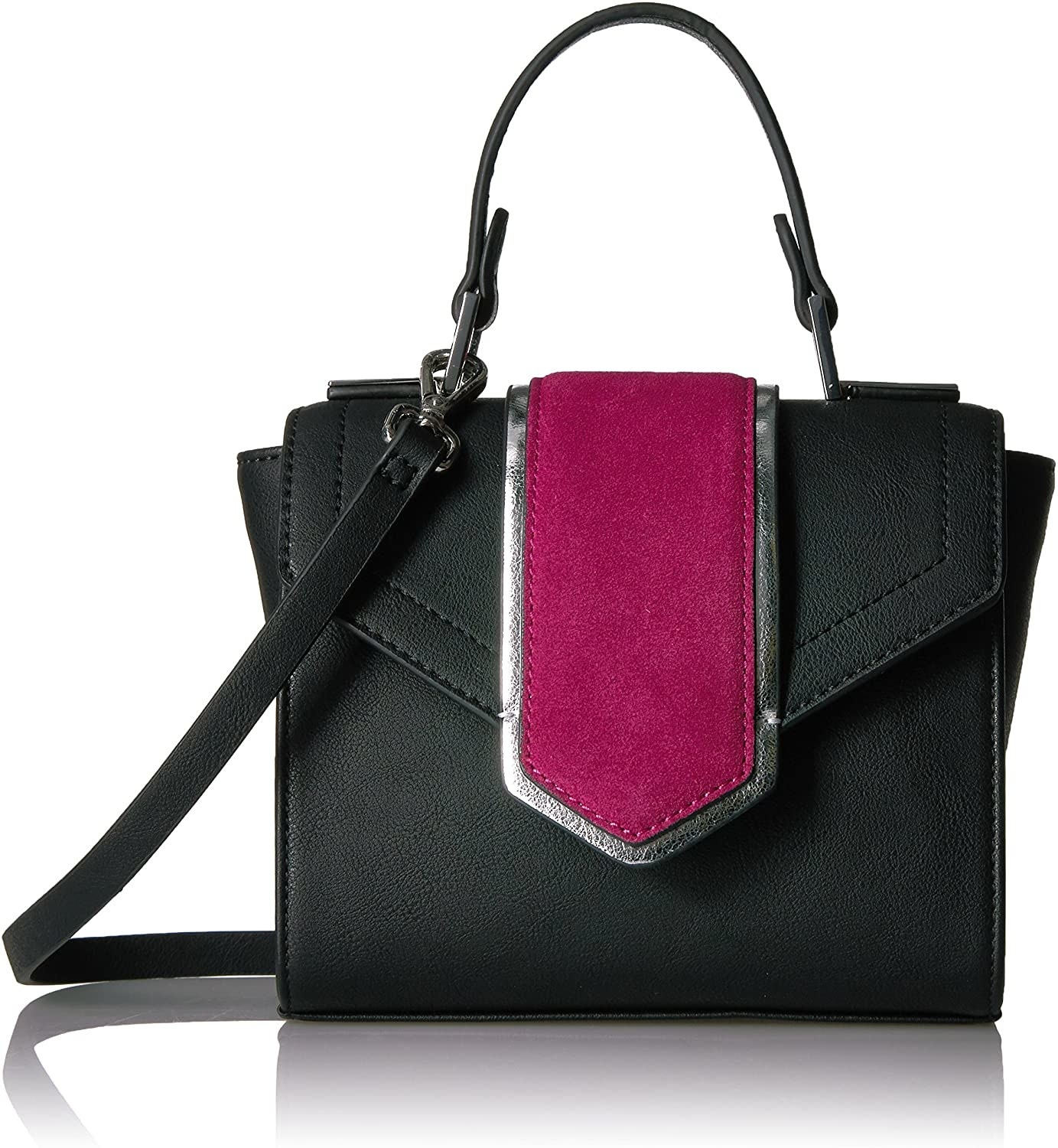 The black bag with a pink and silver detail on the flap and both a top handle and long strap