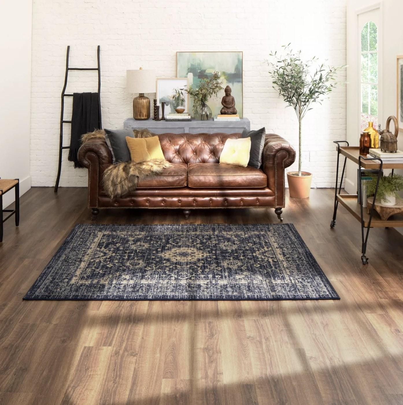 The vintage distressed rug