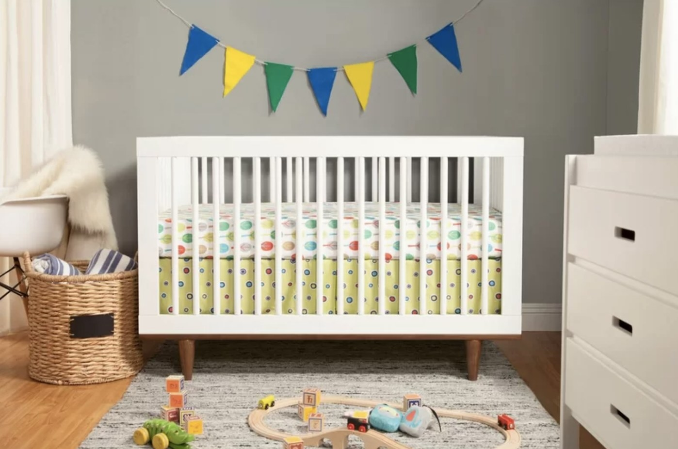 the crib in a nursery