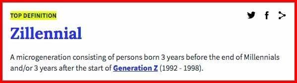"""""""Zillennial: A microgeneration consisting of persons born three years before the end of Millennials and/or three years after the start of Generation Z"""""""