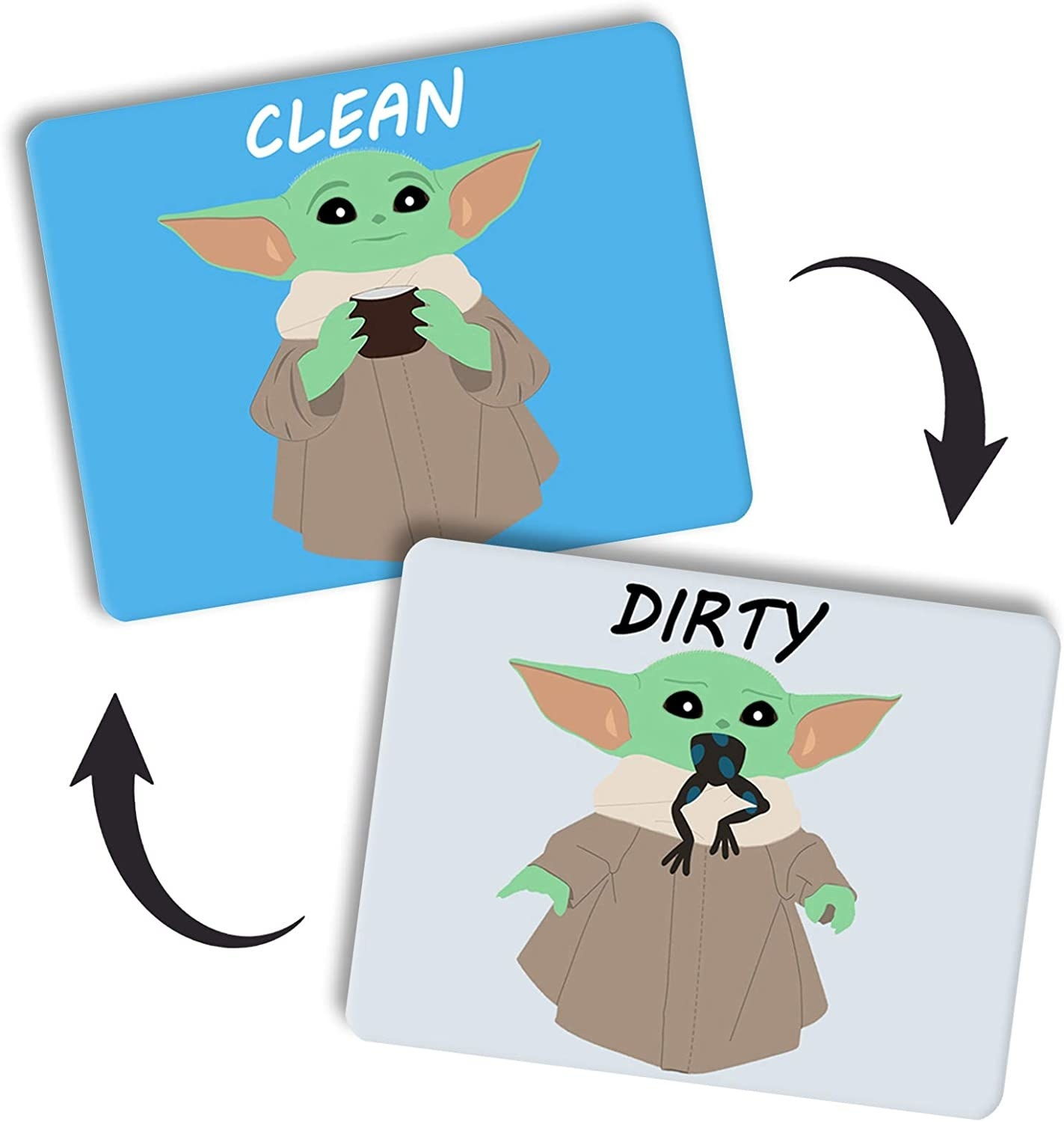 a magnet with two sides, one that shows baby yoda holding a mug and the other with a frog in his mouth