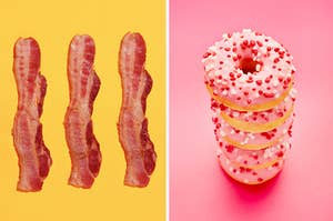 A side-by-side image of bacon next to a stack of pink donuts