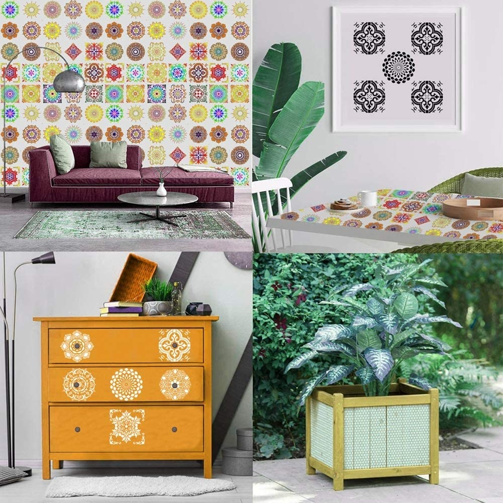 four images of the mandala stencils being used to decorate: a wall, a table, a dresser, and a planter