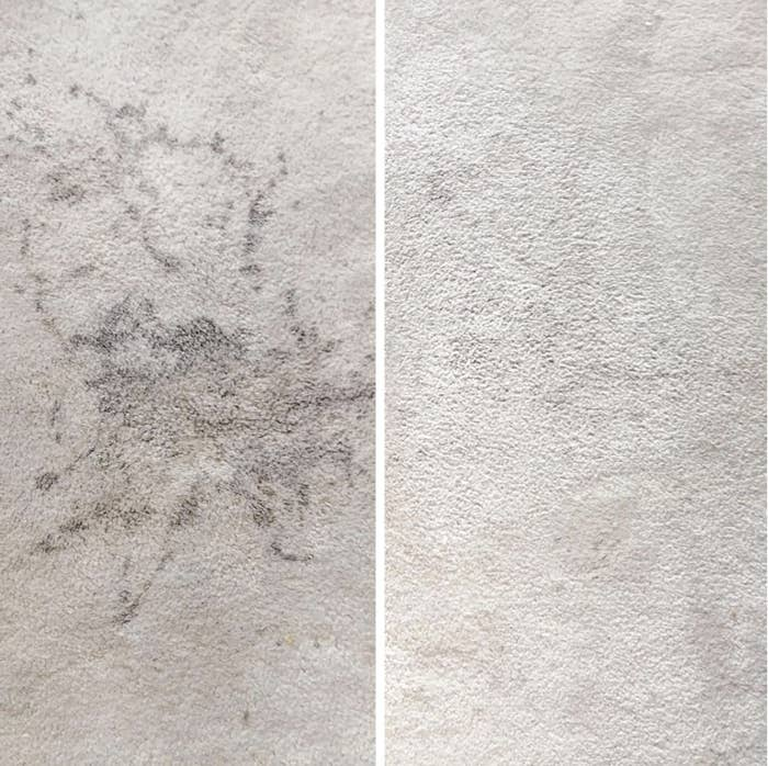 before/after image of reviewer's carpet with a big stain. after pic shows no stain in white carpet.