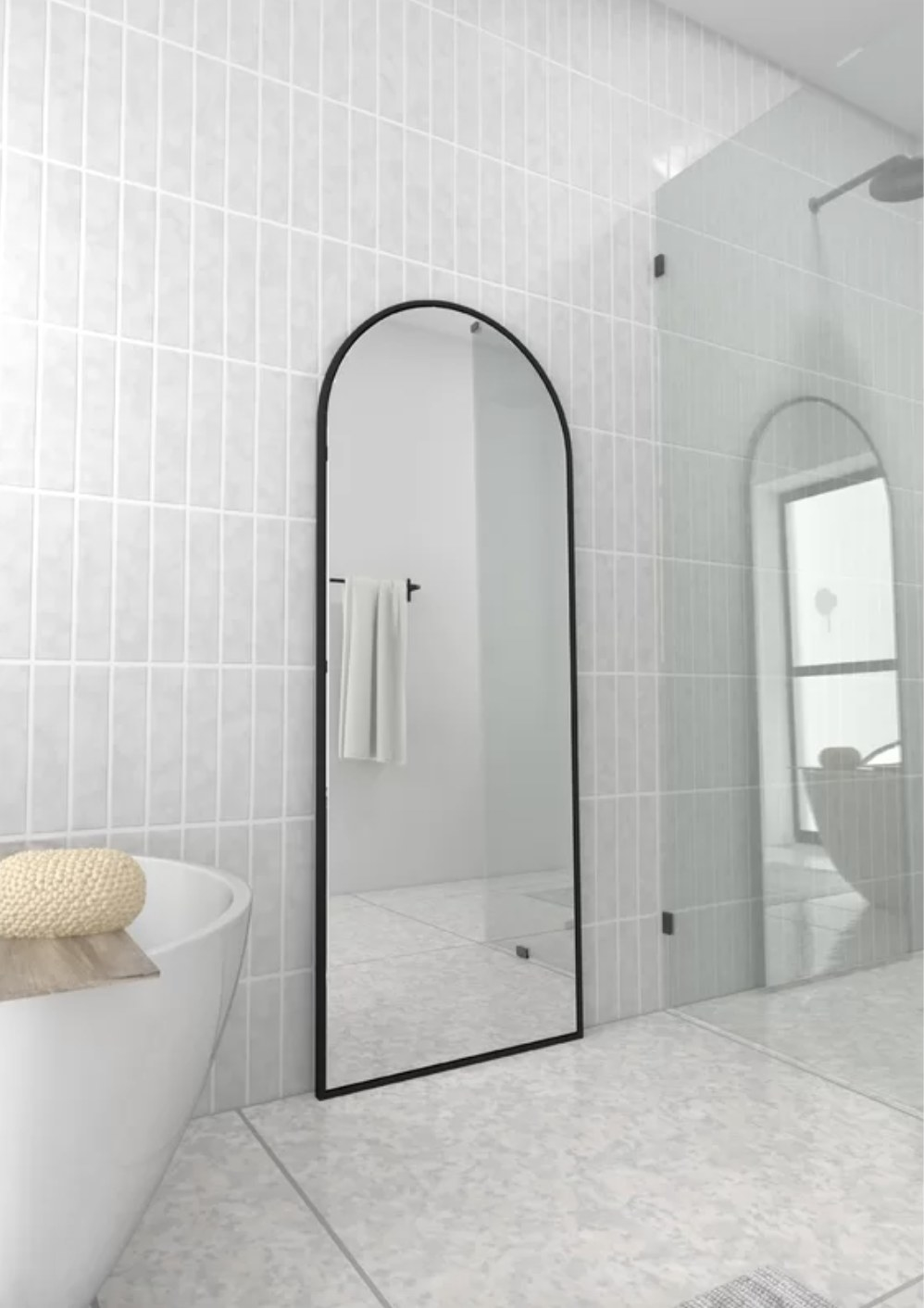 full length mirror with a rounded top