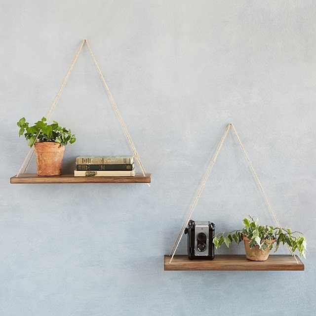 two hang anywhere shelves hanging from a wall with plants on them