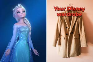 """Elsa is on the left wearing a magical gown with a blazer hanging on the right labeled, """"Your Disney wardrobe"""""""