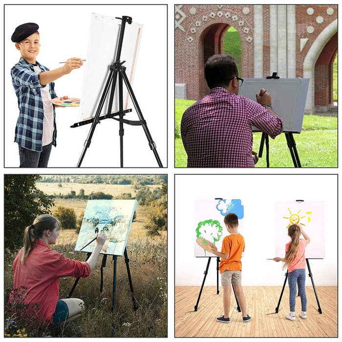 A collage of various people painting on the easel, in different settings.