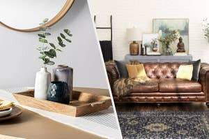 to the left: a decorative wooden tray with vases in it, to the right: a leather couch