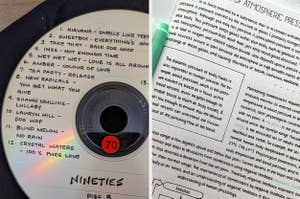 A burnt CD with perfect handwriting on it and a set of handwritten notes that look typed