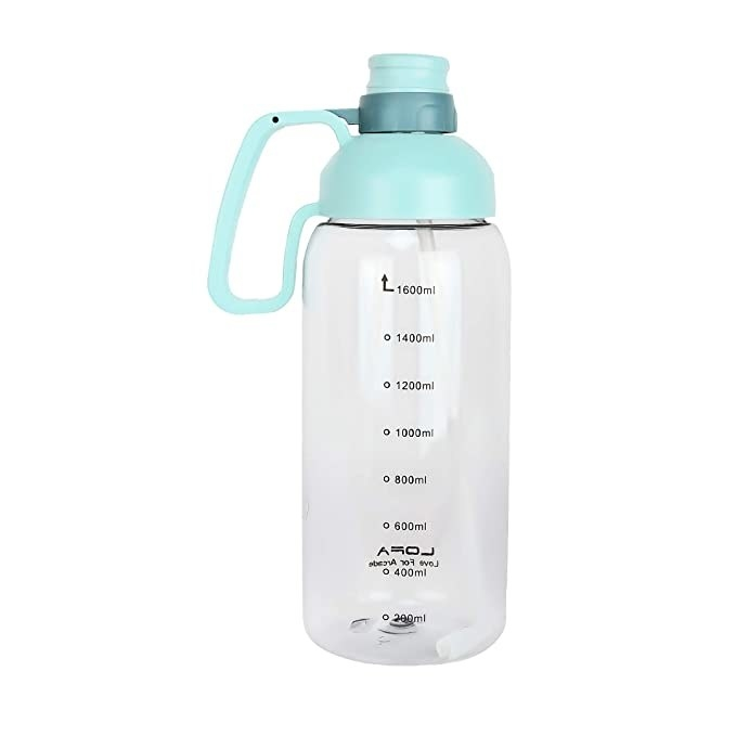 Clear water bottle with a baby blue slipper lid.