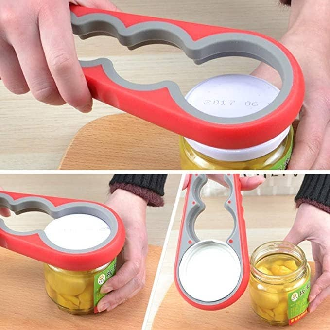 Red jar opener with four different lid sizes.