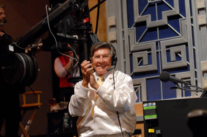 """Johnny Gilbert, Voice of Gameshows during """"Celebrity Jeopardy!"""" Celebrates 5,000th Episode and 23rd Season at Radio City Music Hall in New York City, New York, United States"""